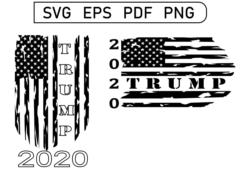 Trump 2020 American Flag Distressed Svg Clip Art Silhouette Stencil Svg Trump 2020