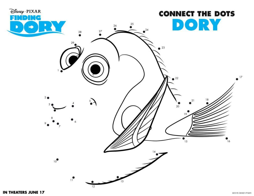 Worksheets Finding Nemo Worksheet finding dory printable worksheet 5 page 1 kids pinterest connect the dots disney for free cartoon coloring printables chara