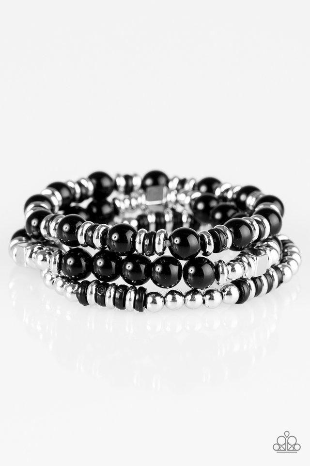 Paparazzi Bermuda Beauty Black Bead Silver Beads Stretchy