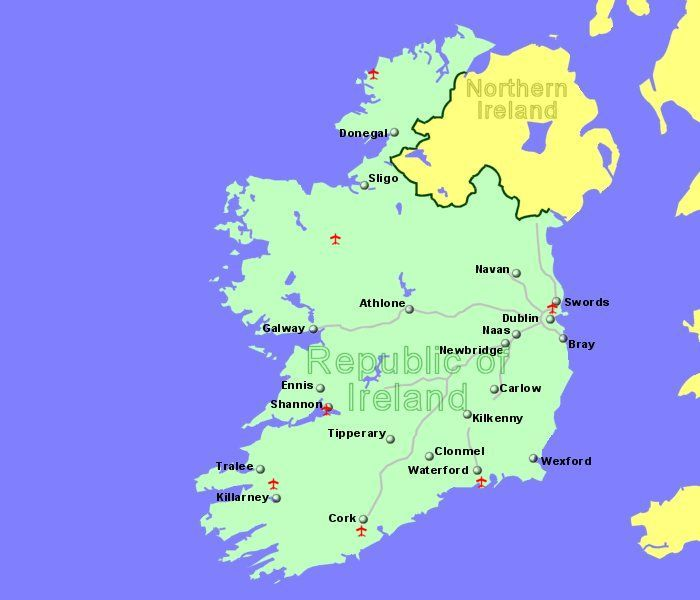 Map Of Ireland With Airports.Large Map Of Ireland Showing All Airports For Whicdh We Have Flight