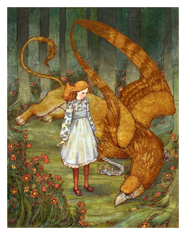 Alice and the Gryphon - color by ~bluefooted on deviantART
