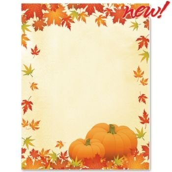 Fall Themed Pretty Pumpkins Border Paper from