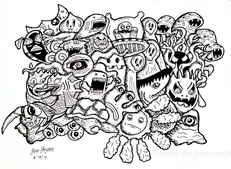 Free coloring page coloring-doodle-monsters-by-bon-arts. Doodle ...