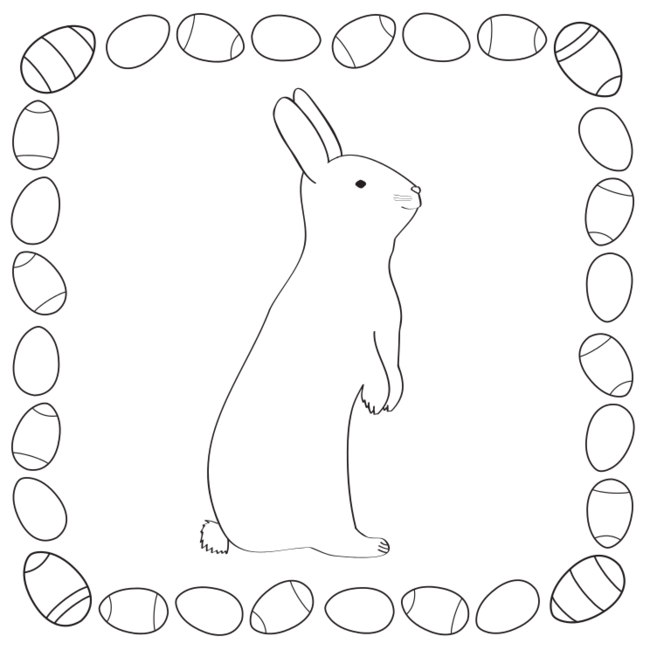 Easter Bunny Coloring Template for pre-K and kindergarten kids ...