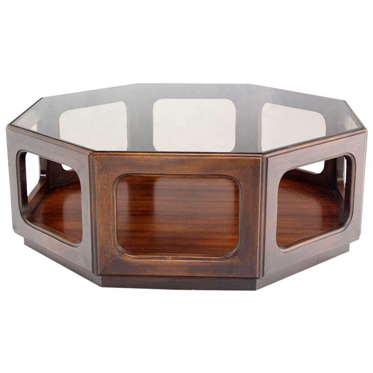 MidCentury Modern Hexagon Walnut Base Smoked GlassTop Coffee