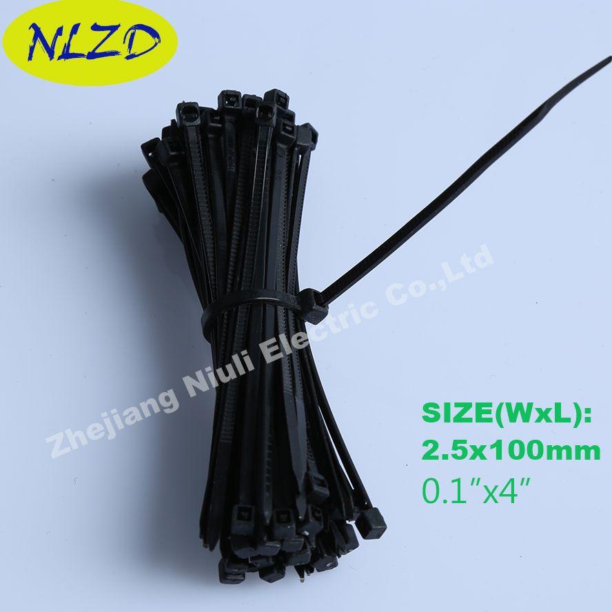 100mm Black Nylon Cable Ties 1000Pcs Width 2.5mm National Standard ...