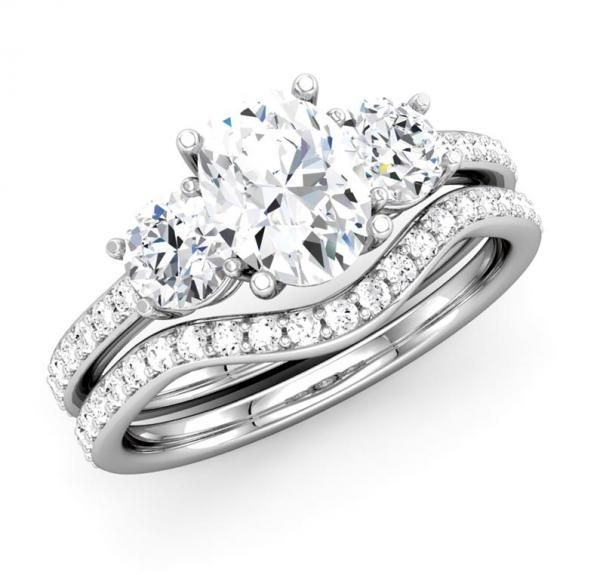Long Lasting Love For Her With Oval Diamond Ring Three Stone Bridal Engagement Set