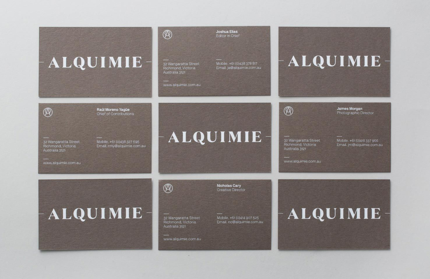 Pin by diana sanchez on design pinterest brand identity and logos logotype and white ink warm grey business card designed by thoughtassembly for quarterly beverage magazine alquimie reheart Images