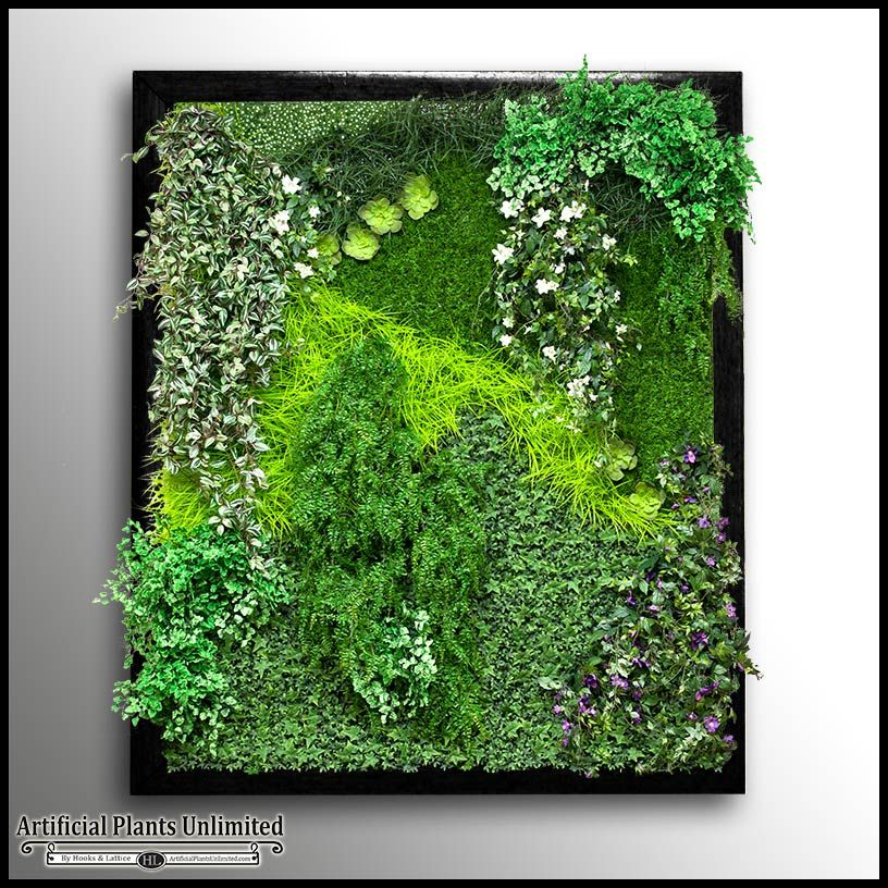 Replica Indoor Artificial Living Wall 60in.L x 36in.H w/ 6in. Frame $762.85