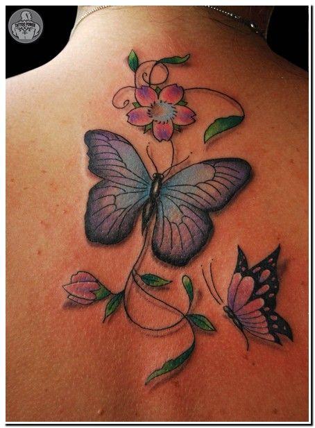 Tatuagem Feminina Borboleta E Flores Edileuza Tatuagem
