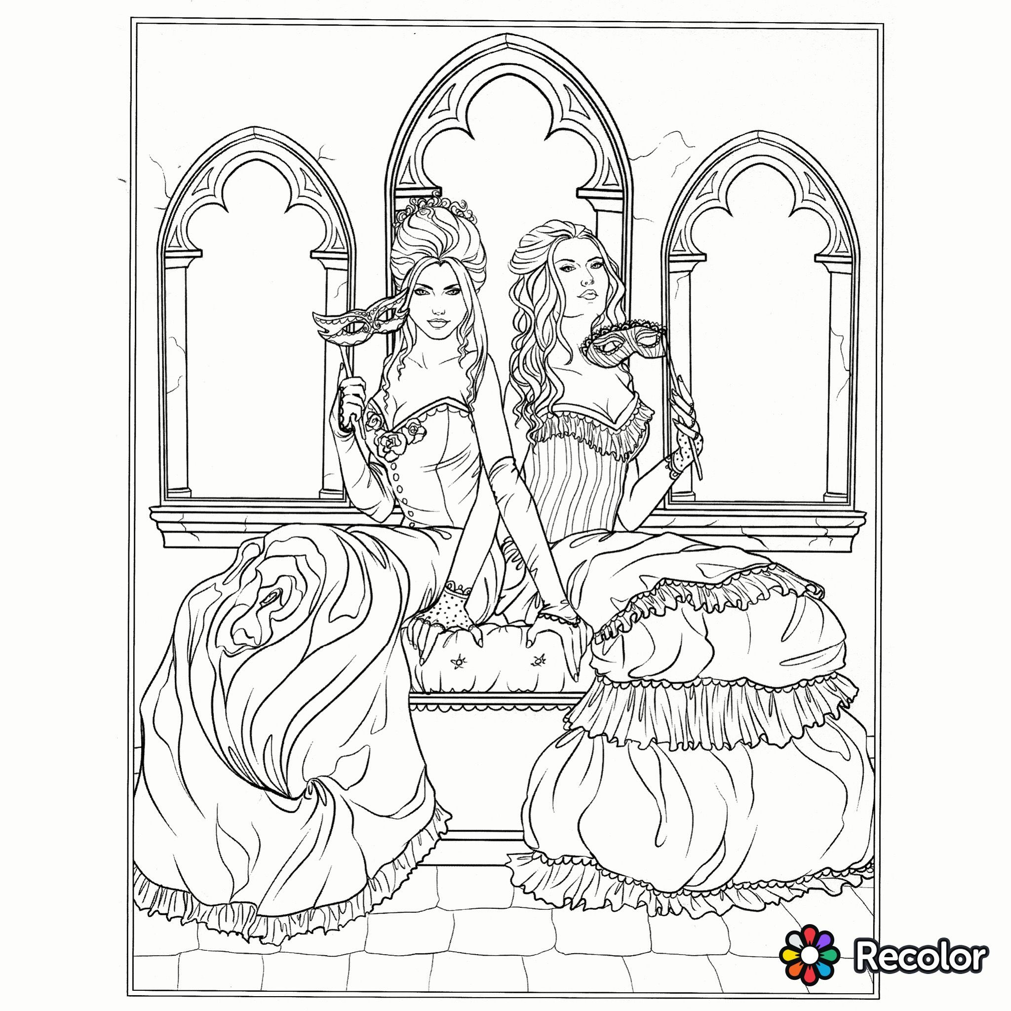 gothic beauties coloring page - Gothic Coloring Book