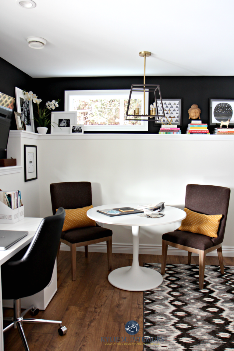 Home Office, Feature Wall Sherwin Williams Tricorn Black With Benjamin  Moore Cloud White. E