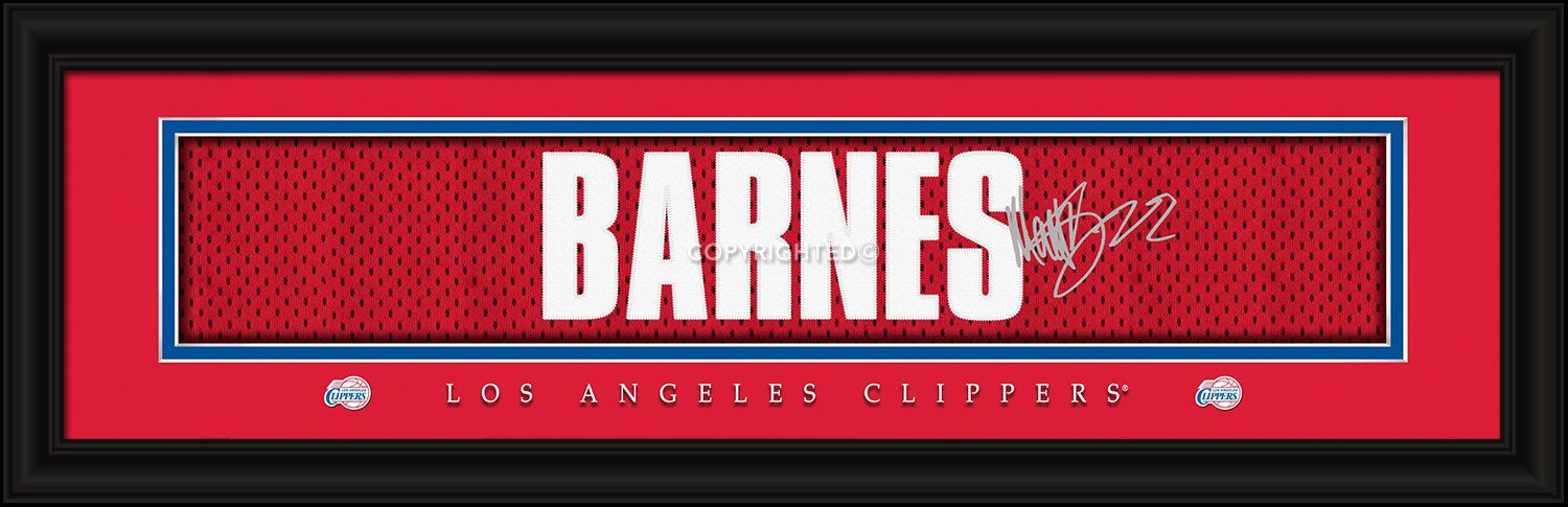 Matt Barnes Los Angeles Clippers Player Signature Stitched Jersey Framed Print