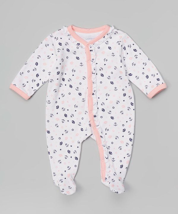 bf5b73aa613 Look at this Sterling Baby White & Pink Nautical Footie on #zulily today!