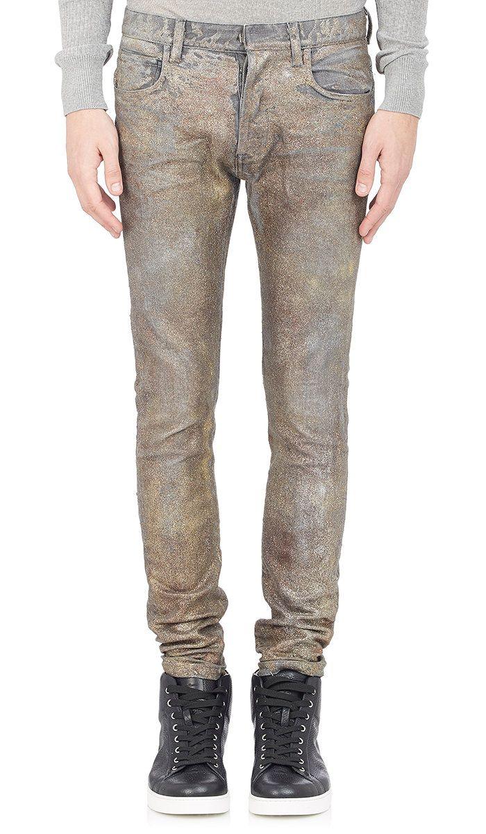 Glitter-Finished Slim-Fit Jeans