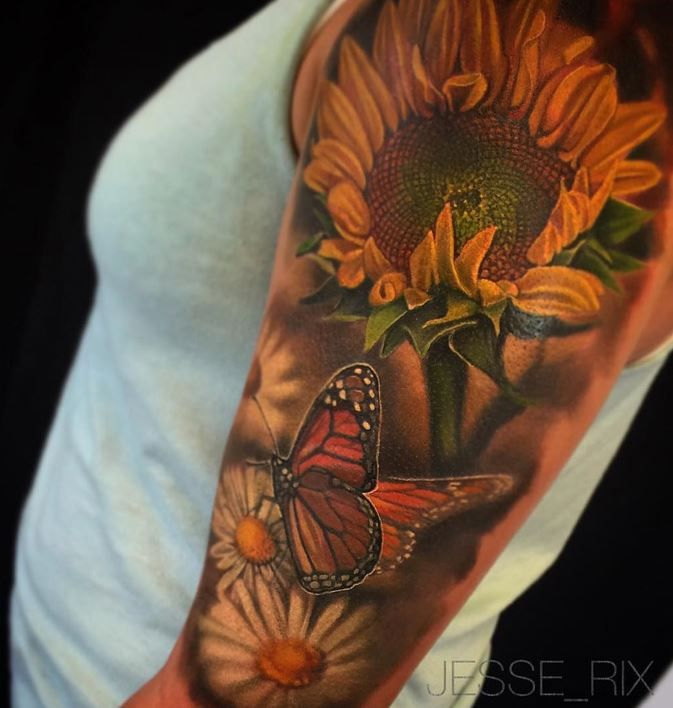 Butterfly, Sunflower & Daisies Tattoo