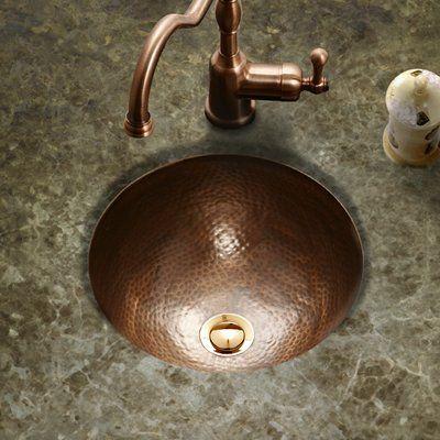 Houzer Hammerwerks Metal Circular Undermount Bathroom Sink With