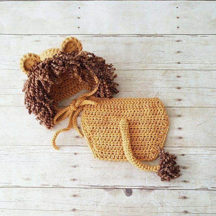 crochet cute baby lion bonnet nappy cover set gift photo props 0-3 months