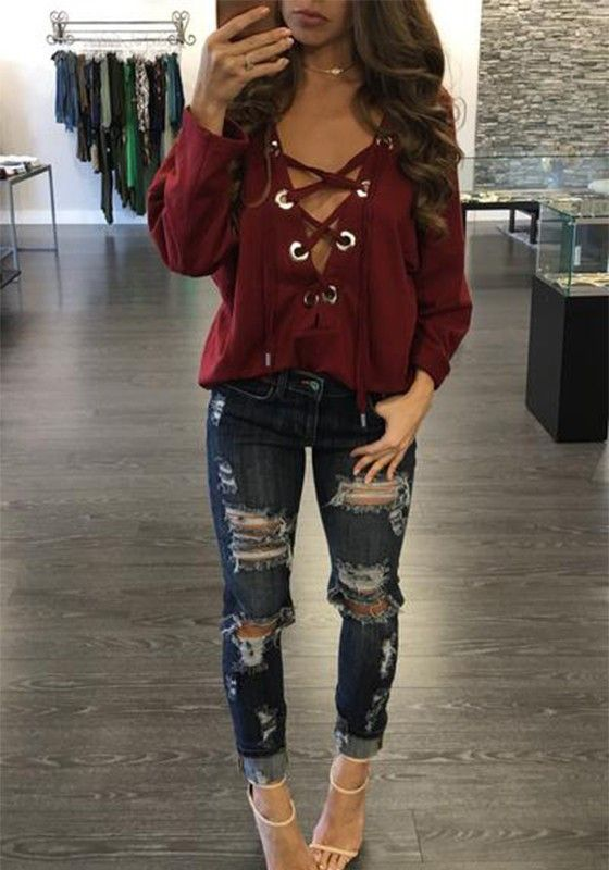 Straps Lace Up Deep V Neck Drop Shoulder T Shirt Fashion