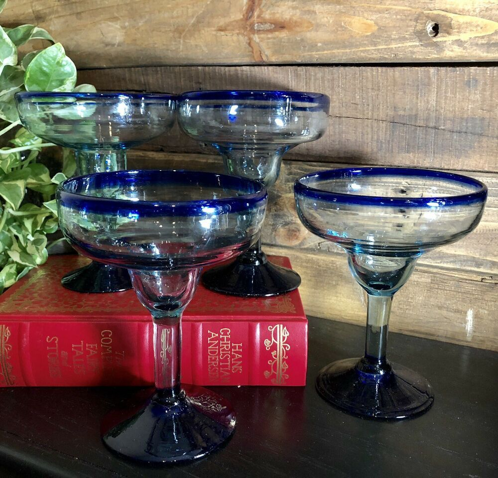 4 Southwestern Mexican Hand Blown Margherita Glasses Blue Rim Free Shipping Hand Blown Glasses Hand Blown