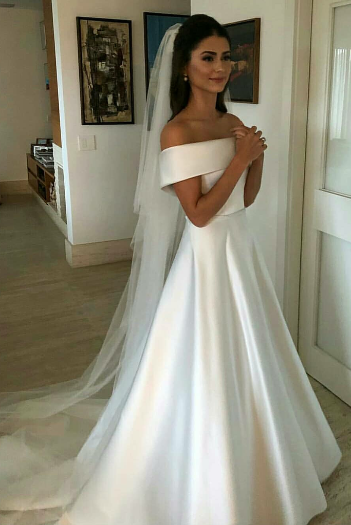 Simple Satin Bridal Dress With Fold Off The Shoulder Off Shoulder Wedding Dress Online Wedding Dress Wedding Dresses Satin