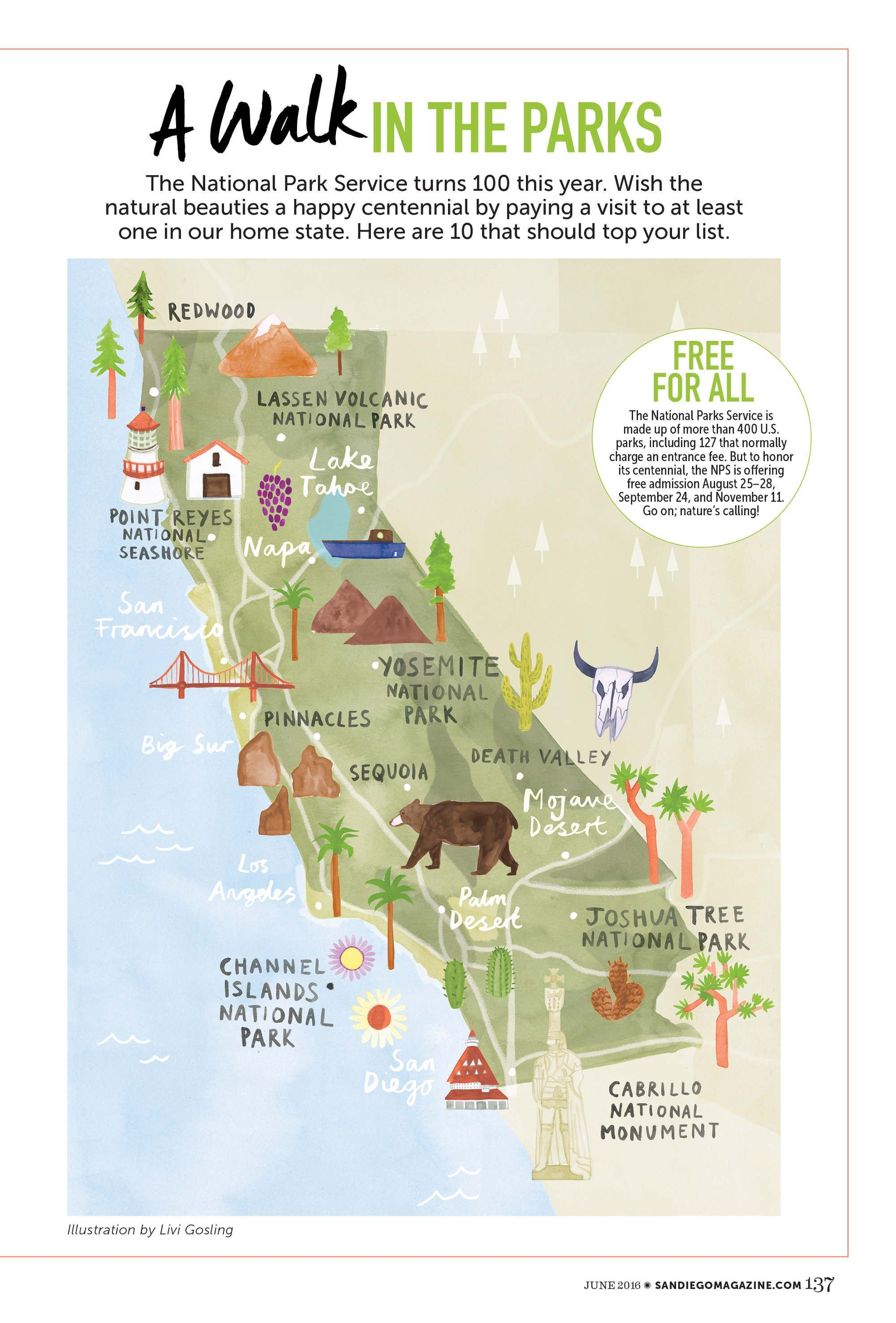 Map Of California State Parks.Livi Gosling Map Of California National Parks Vacation State Of