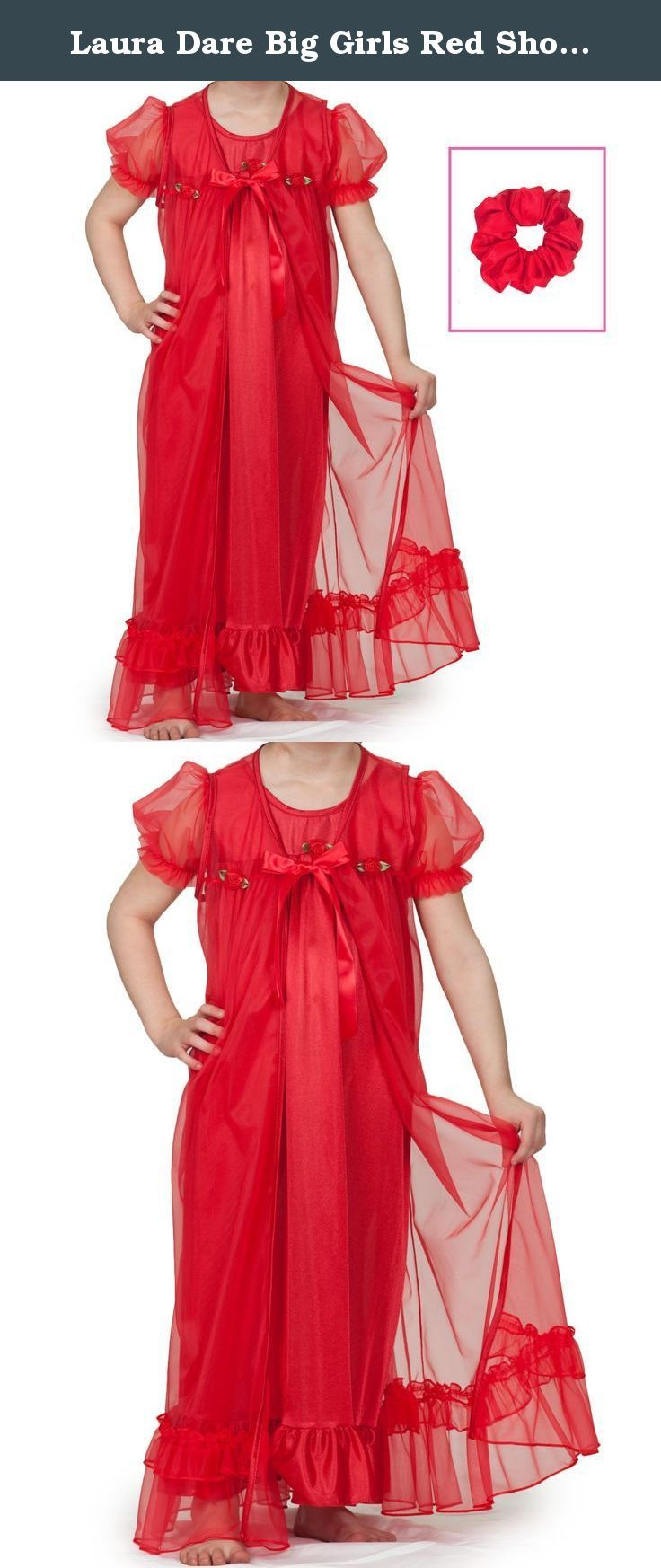 8996910510 Laura Dare Big Girls Red Short Sleeve Peignoir Nightgown w Scrunchie ...