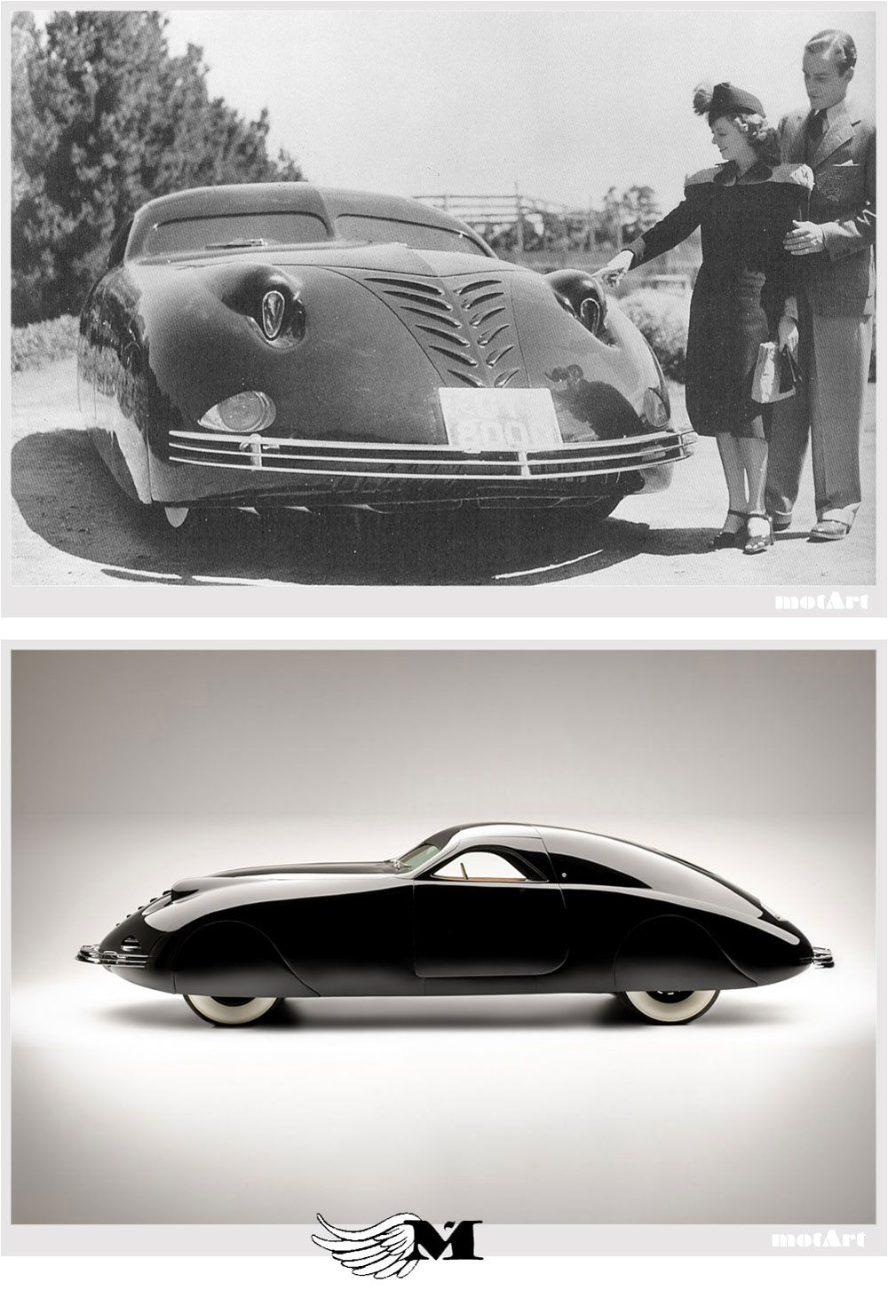 this car is art deco because the curvy line and straight one on the front