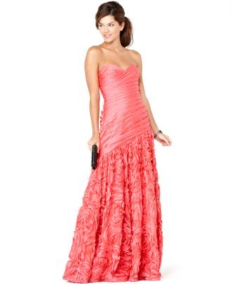 Adrianna Papell Dress, Strapless Pleated Sweetheart Neck Evening ...