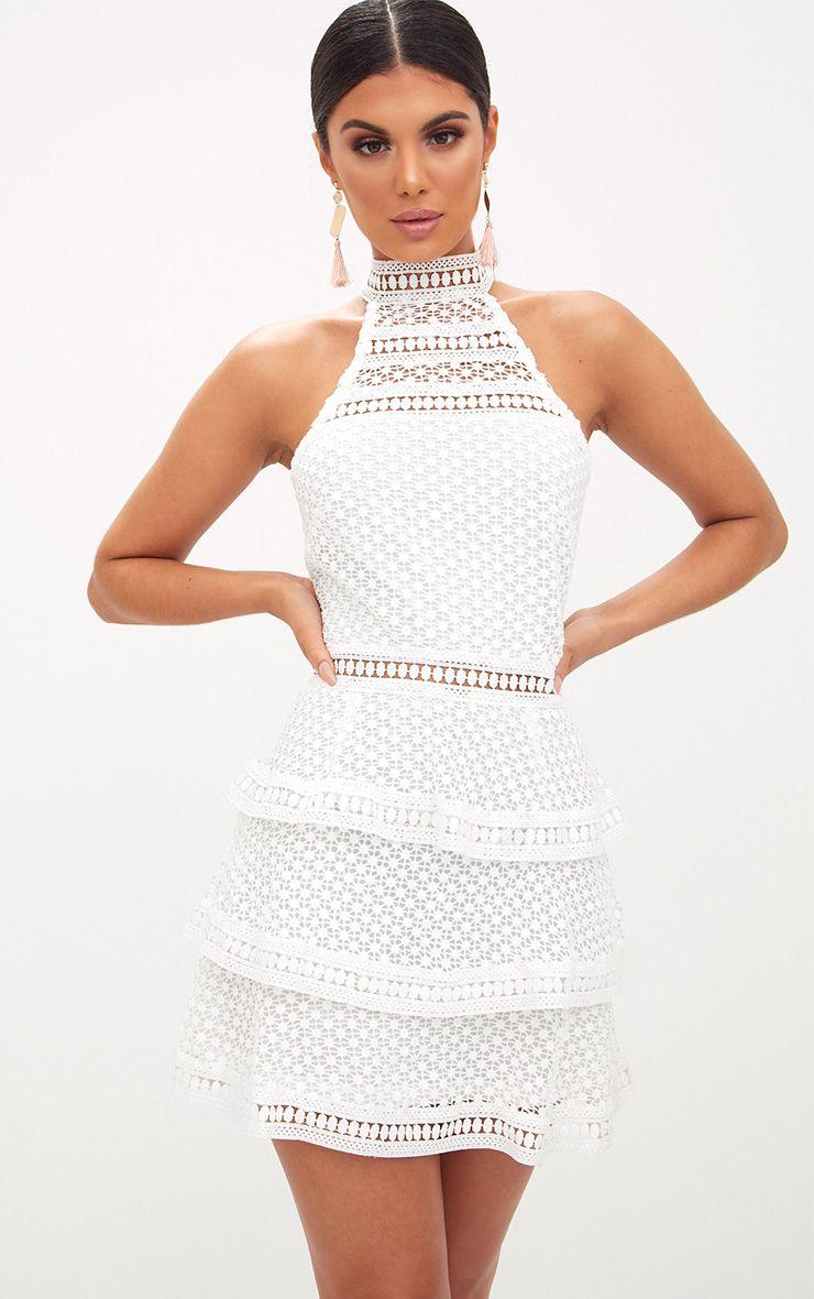 White Lace Panel Tiered Mini Dress White Mini Dress Mini Dress Womens Dresses [ 1180 x 740 Pixel ]