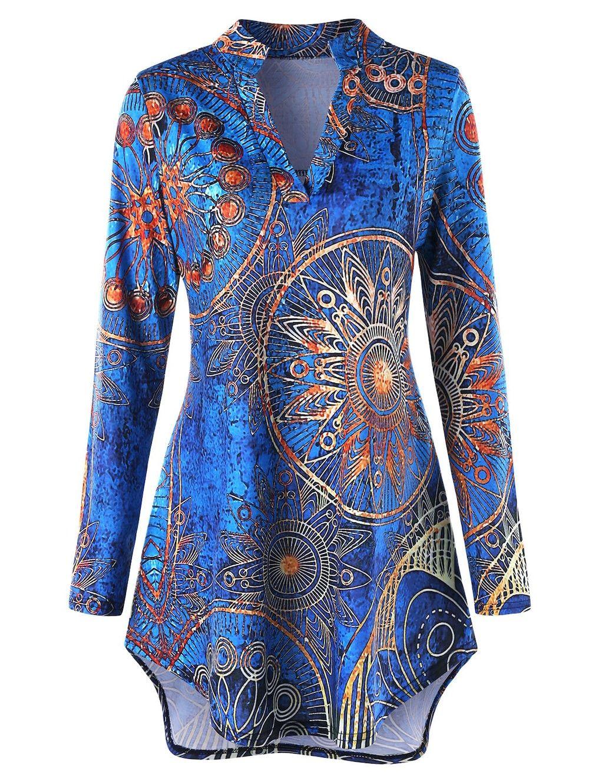 Tribal Womens Long Sleeve Printed Tunic Blouse