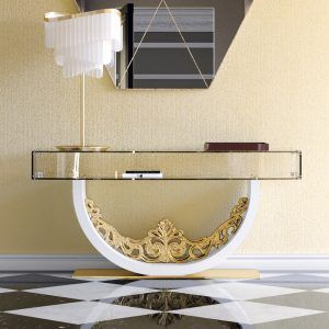 Luxury Contemporary Glass Console Table Cristal Meets Gold And