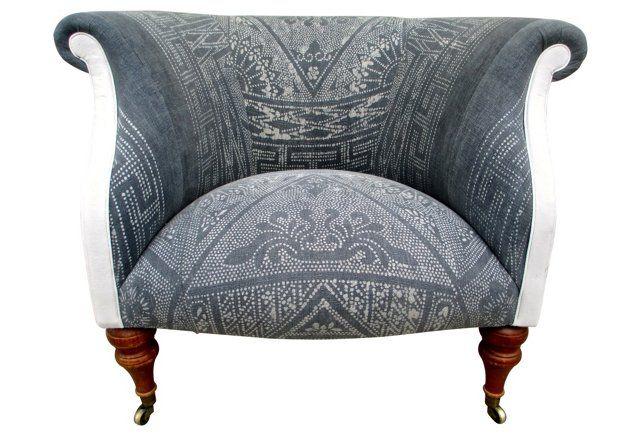 Gray Batik U0026 French Linen Chair