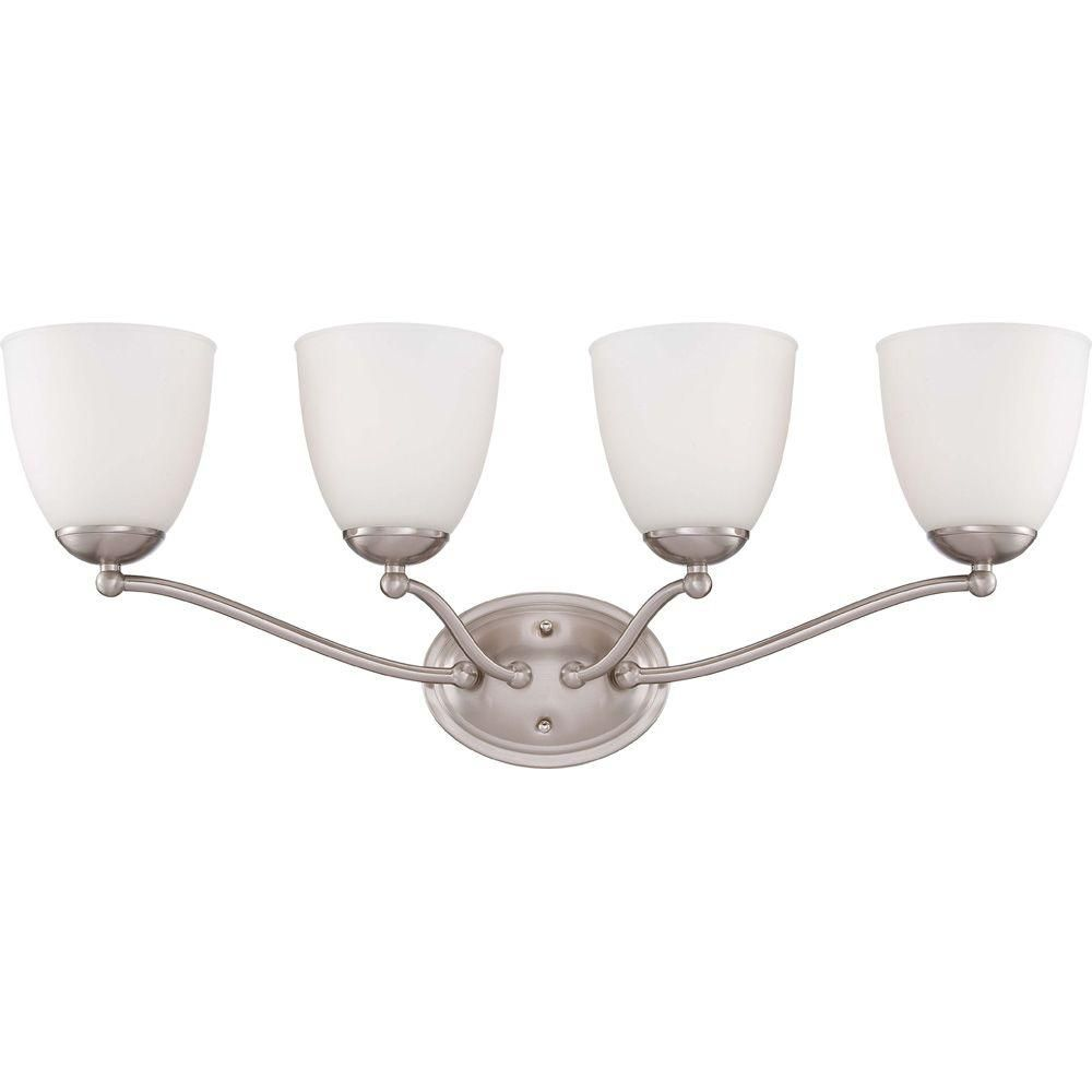 Illumine 4 Light Brushed Nickel Vanity Fixture With Frosted Glass Shade