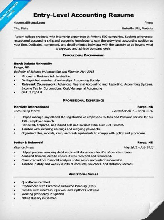 Entry Level accountant resume Resume builder Pinterest Sample