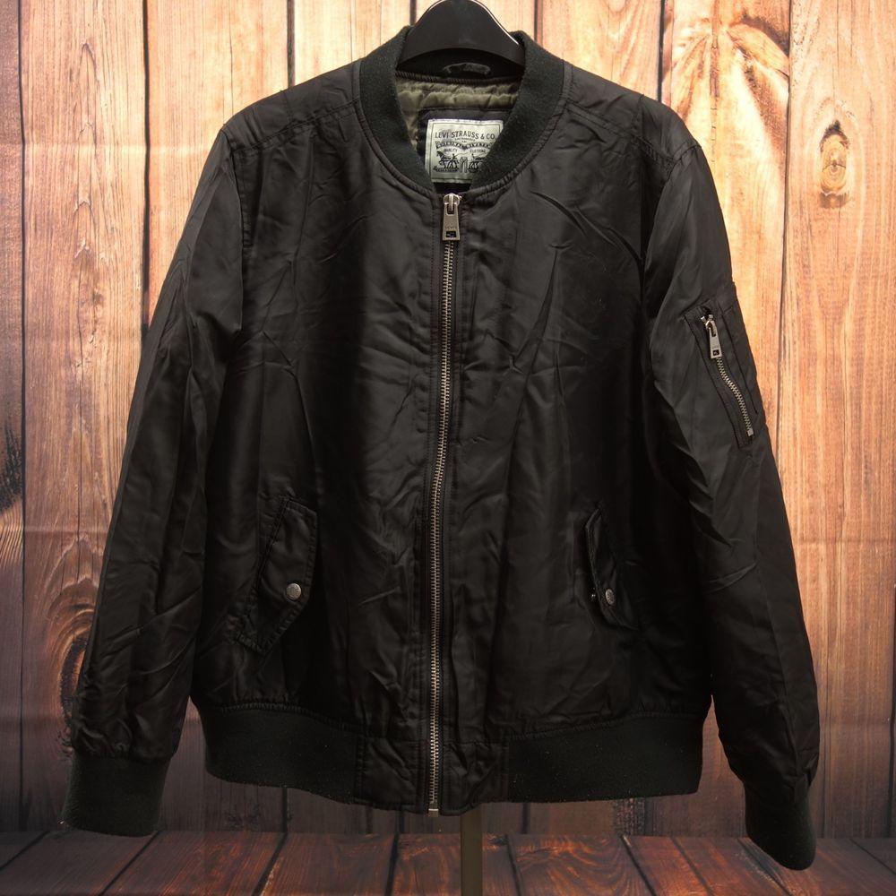 Levis Mens Black Wind Resistant Zip Up Varsity Bomber Jacket Coat Size Xl Levis Bomber Black Bomber Jacket Jackets Bomber Jacket Men [ 1000 x 1000 Pixel ]