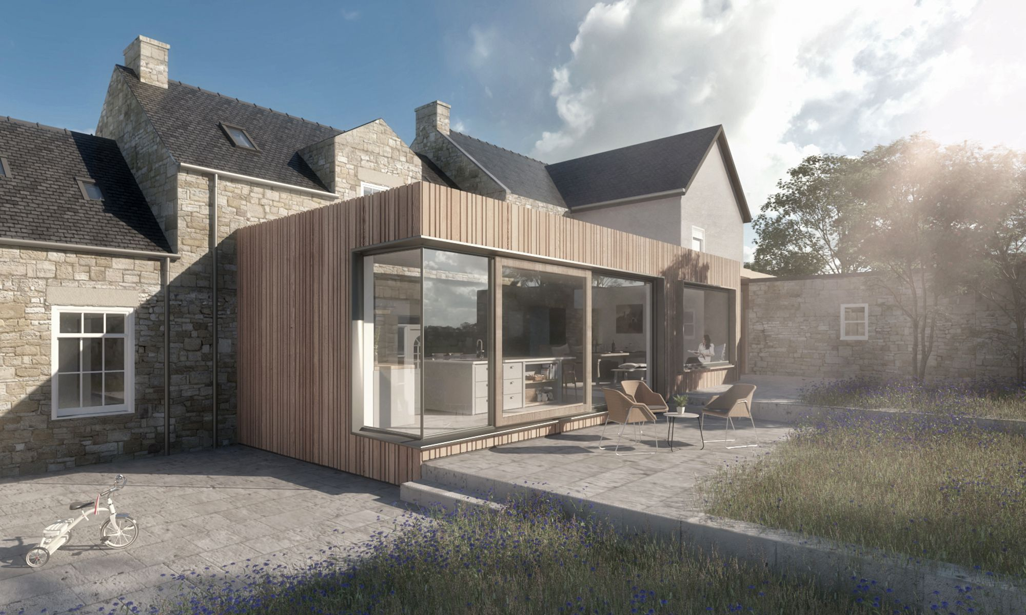 timber clad rear extension to a traditional farmhouse. Black Bedroom Furniture Sets. Home Design Ideas