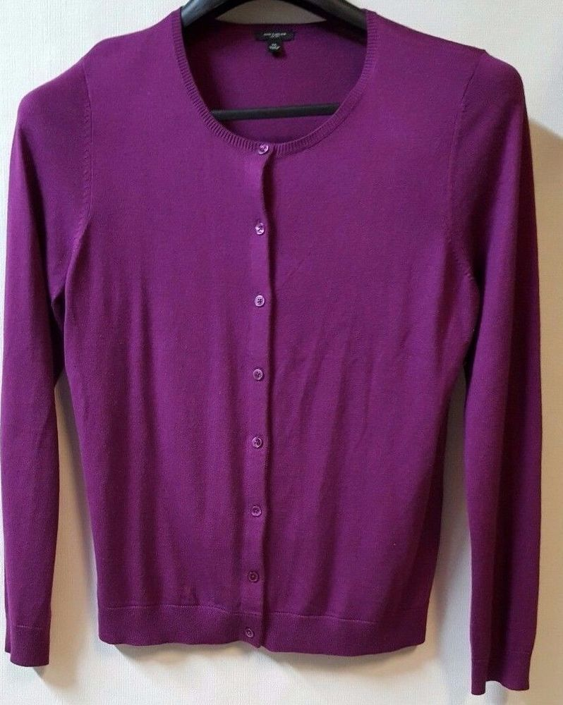 Ann Taylor Purple Cardigan Size XL Button Down Crew Neck Silk ...