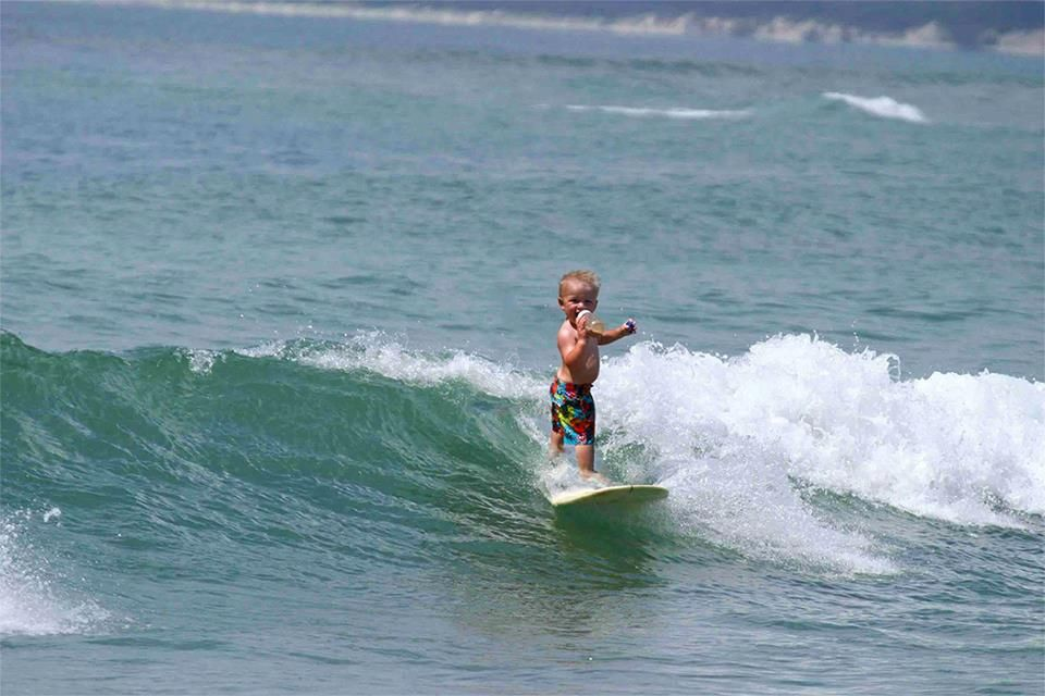 Surfing with a sippy cup!
