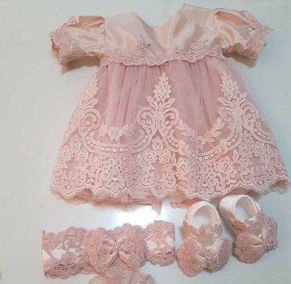 62b86ae7ff2d Pink Dress Set Pink Baby Dress Pink Lace Dress Pink