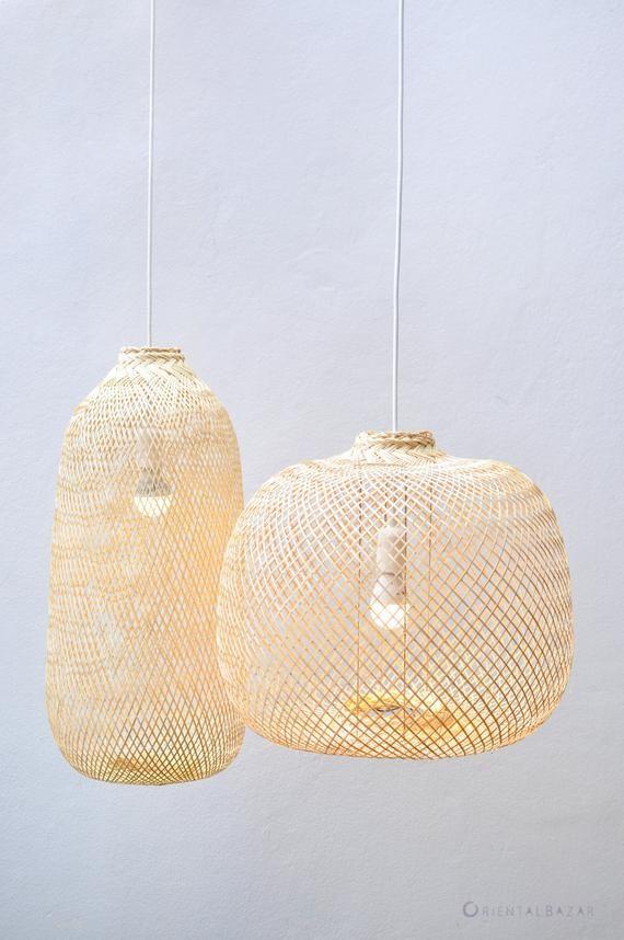 Bamboo Pendant Light, Repurposed Fish Trap Ceiling Lamp
