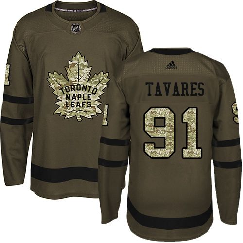 low priced 10a8e fd213 Adidas Maple Leafs #91 John Tavares Green Salute to Service ...