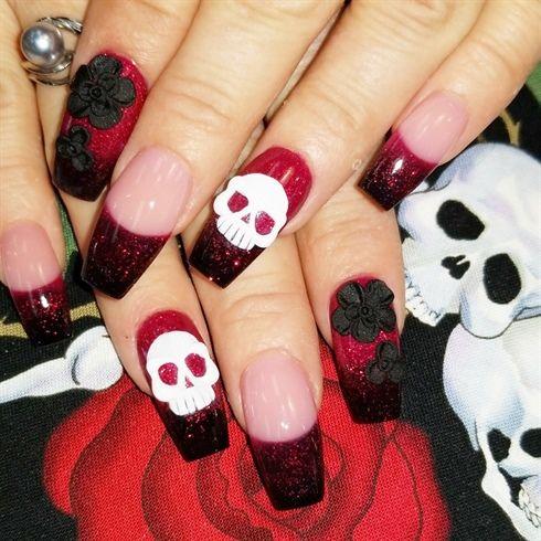3d skulls by Oli123 from Nail Art Gallery | Halloween Nail ...