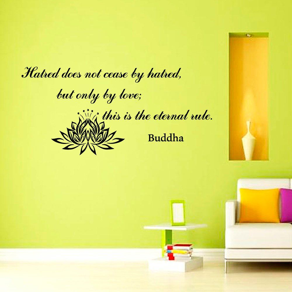 Wall Decals Quotes Hatred does not cease by hatred Buddha Lotus ...