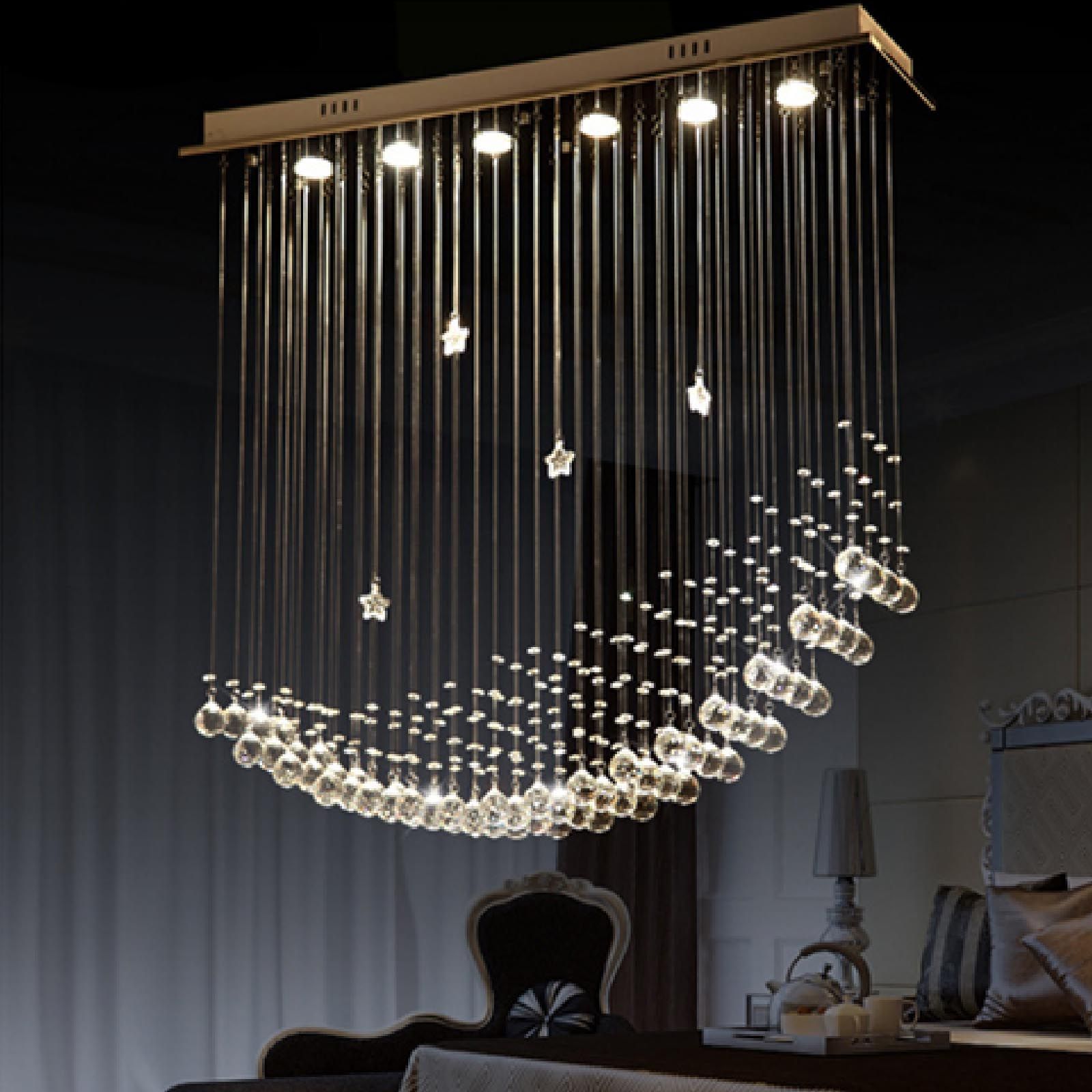 Byb modern chandelier rain drop lighting crystal ball fixture