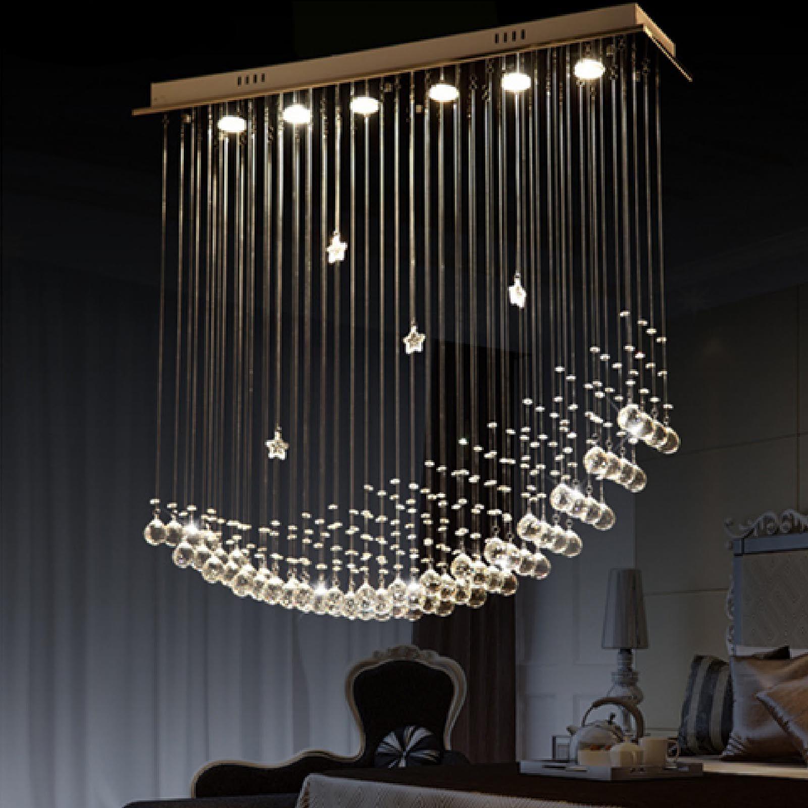 Byb Modern Chandelier Rain Drop Lighting Crystal Ball Fixture Pendant Ceiling Lamp Moon