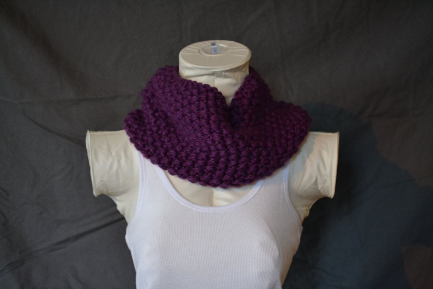 Plum Knitted Cowl Infinity Scarf by KnotsandBows Boutique on Etsy, $25.00