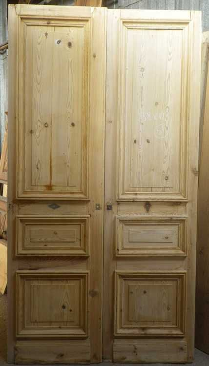 C2v13 porte d 39 interieur 2 vantaux en pin architecture for Porte interieur bois double battant