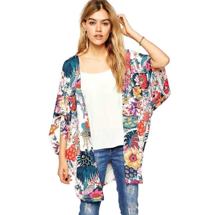 Casual Floral Print Kimono Loose Cardigan Chiffon Top | Products ...