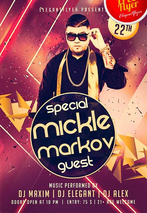 Electro Dj Party Free Psd Flyer Template Facebook Cover Http